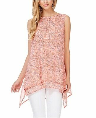 Fever Ladies' Double Layer Tank, Coral Pink Print, Size XXL, NWT