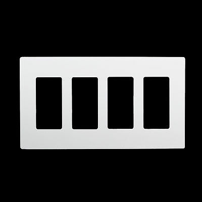 4-Gang Screwless White Wall Plate Outlet Cover GFCI Rocker Decorator Switch