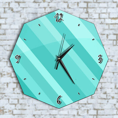 Mint Blue Lines Stripes - Home Office Kitchen Kids Living Room Decor Wall Clock