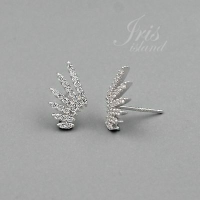 Cubic Zirconia Wings 925 Sterling Silver Stud Earrings With Micro Pave 03102