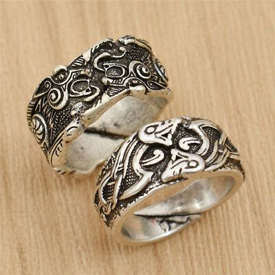 Viking Dragon Rune Ring Norse Viking Finger Rings Jewelry Unisex Gift Adjustable