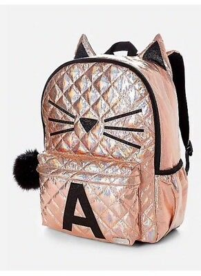 NWT Justice Backpack Gold Cat Quilted Style-Initial A Full Size 😻😻