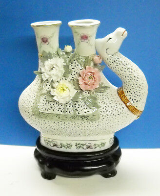 Antique Vintage Chinese Asian Camel Vase Feature Intricate Porcelain Flowers