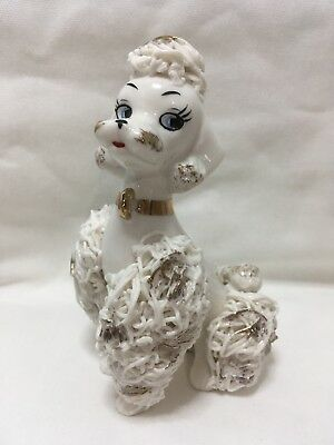 Napcoware Porcelain Figurine Spaghetti Poodle White Gold Trim Japan 180743