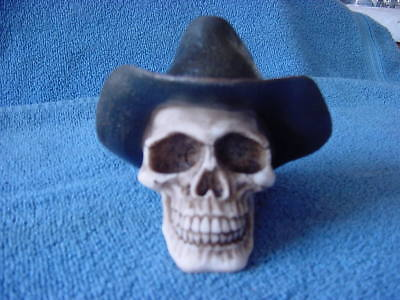 Skull with Cowboy Hat Collectible Statue Figurine