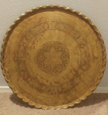 """Huge 26 1/2"""" Antique / Vintage Middle East Islamic Persian brass Plate wall art"""