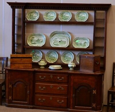 Grand & Superb Georgian George 3Rd Oak Dresser With Rack Over - Lovely Patina