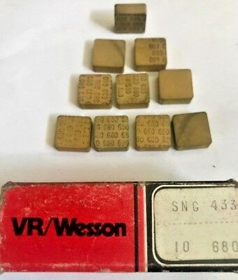VR/WESSON FANSTEEL CARBIDE INSERTS - SNG 433A 680 - Qty. 10 - NEW