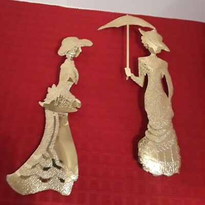 Home Interiors Brass Victorian Ladies Silhouette Plaques, 2 pc. Accent Set, used