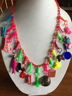 Vintage New 80's Plastic Bell Charm Necklace Retro Party Clip On Fish Cat