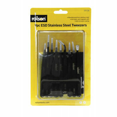 9 Pc Esd Stainless Steel Tweezers With A Storage Wallet Rolson 59138
