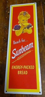 Reach For Sunbeam Energy Packed Bread Porcelain Enamel Advertising Store Sign