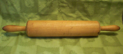 "19th CENTURY ROLLING PIN 18.75"" SOLID MAPLE ANTIQUE ONE PIECE PRIMITIVE KITCHEN"