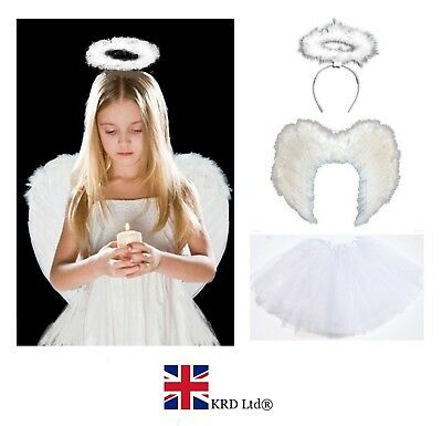 WHITE ANGEL TUTU COSTUME Feather Girls Halloween Fancy Dress Outfit Party Lot UK