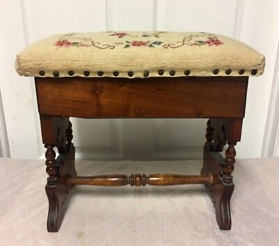 Antique Victorian Carved Wood Foot Stool w/ Storage.Ottoman - Nice!!!