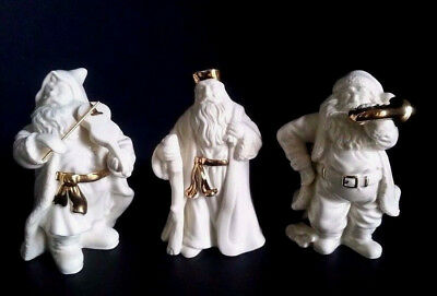 LENOX Christmas Figurine Set of 3 Victorian Santa w/Horn Violin Staff Gold Trim