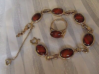 "Vintage Sarah Coventry Faux Tiger Eye Scarab 7"" Bracelet And Matching Ring 5.5"