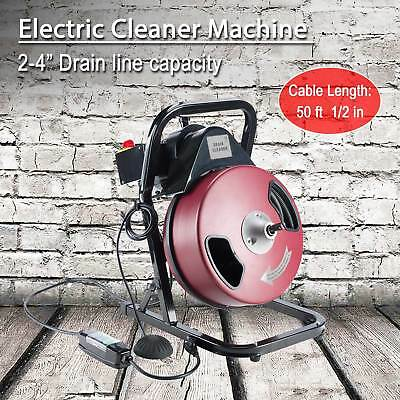 "Electric Drain Cleaner Drum Auger Snake (1"" to 4"" pipes) with Built-in GFCI"