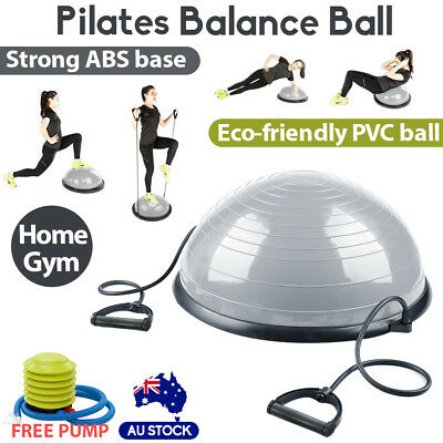 Pilates Balance Ball Gym Training Exercise Half Fitness with Pump & Band Yoga AU