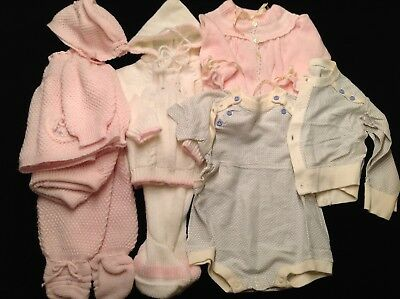 Vintage Baby Clothes Knit Sets~Onepiece w/Jacket~ 8Pcs Made In Italy/Spain Renro