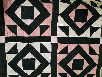 RARE Antique Early Handstitched Quilt Patchwork Pink Black Old Diamond Pattern