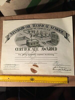 1925 Standard Oil Co. Bayonne Works NJ New Jersey Tech School Cert Old Vintage