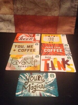 Set Of 7 New Starbucks Fall 2018 Recycled Paper Gift Cards Lot