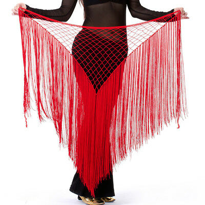 USA Argentina Style Women Belly Dance Costumes Hip Scarf Wrap Belt Skirt Fringes