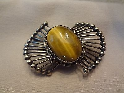 Vintage Wells Sterling Silver Tiger Eye Pin-Very Old And Very Nice
