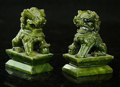 China  Rare A pair of 100%  natural green jade hand-carved statues fo dog lion