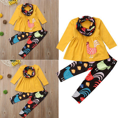 US Stock Baby Kid Thanksgiving Girl Romper Jumpsuit Top+Pants Clothes Outfit Set