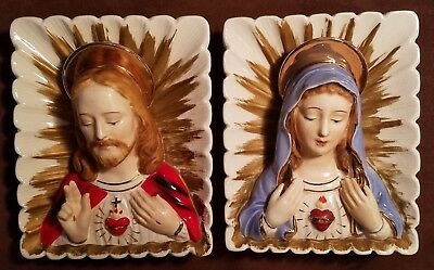 Vintage Jesus Virgin Mary Wall Plaques Set Ceramic ** Very Good Condition **