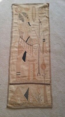 "Antique Egyptian Needlework Pharoah Sceen Scarob Beetle 17"" x 45"""