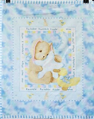 Teddy Bear Baby Blue Twinkle Twinkle Star Quilt Panel 100% Cotton