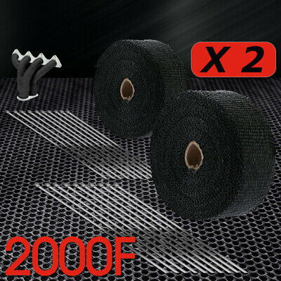 2pcs 2000F BLACK EXHAUST HEAT WRAP 50MM X 15M + 20 STAINLESS STEEL TIES AU