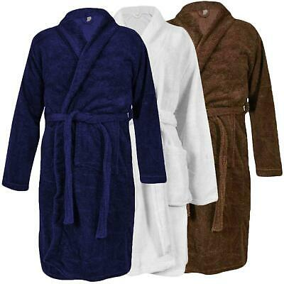 Mens Bathrobe Polyester Fleece Pockets Plain Comfy Dressing Gown