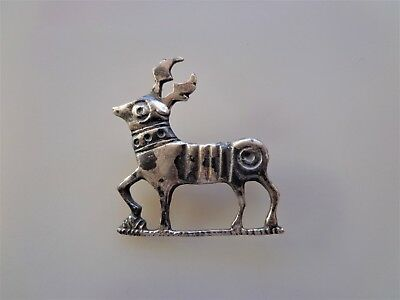 Roman SIilver Zoomorphic Stag Plate Brooch (fibula).INTACT.
