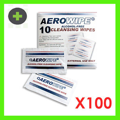 100x Alcohol Free Cleansing Wipes Certrimide BP