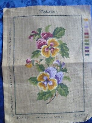 VINTAGE PANSIES TAPESTRY CANVAS 39 cms x 30 cms READY TO WORK