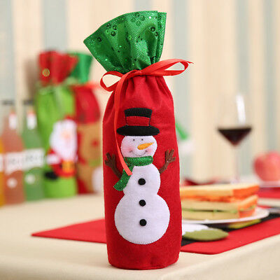 1/3PCS Christmas Ornament Santa Claus Wine Bottle Bags Colorful Storage for Gift