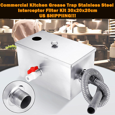 Commercial Kitchen Grease Trap Stainless Steel Interceptor Filter Kit 30x20x20cm