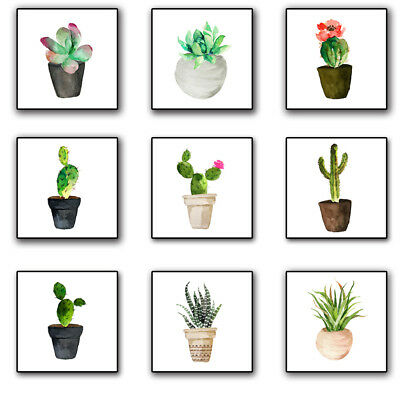 Nordic Poster Plant Potted Cactus Canvas Painting Wall Picture Decor Braw