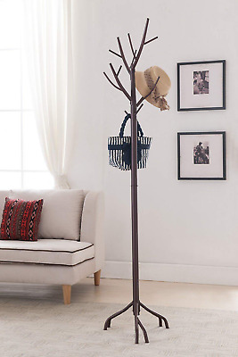 Rack Tree Hat Coat Hall Stand Brass Antique Ornate Floor Vintage Clothes Wood