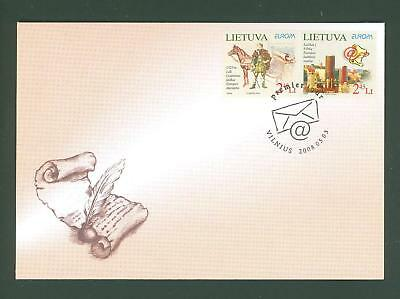 Lithuania A72 Below face 2v FDC 2008 Europa Mail Horse