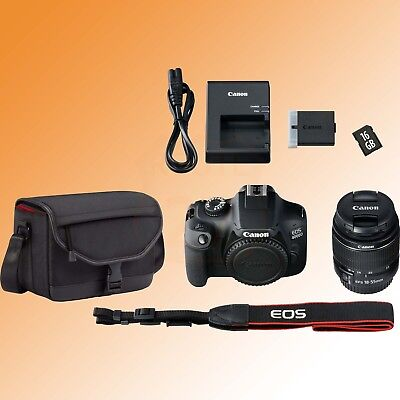 Canon EOS 4000D DSLR Camera Zoom Lens 18-55mm Canon Shoulder Bag 16GB SD Card