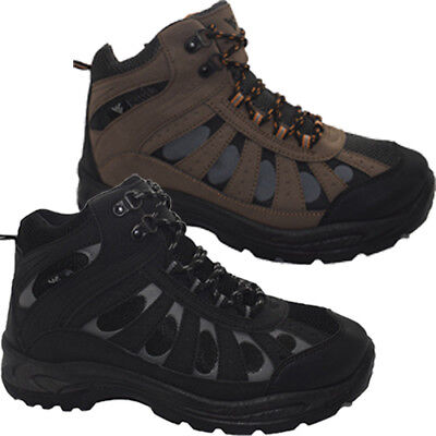 Mens Comfy Hi Top Outdoor Trail Lace Up Walking Hiking Trekking Trainers Boots