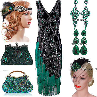 50s Style Dress Vintage Retro Costumes Sequins Tassel Evening Gown Party Dresses
