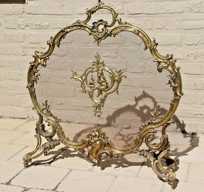 Antique 1890 French Louis XV gilt bronze fireplace screen putti/ girl Rococo