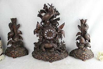 XXL antique Swiss BLACK FOREST wood carved Birds hunting clock set candle holder