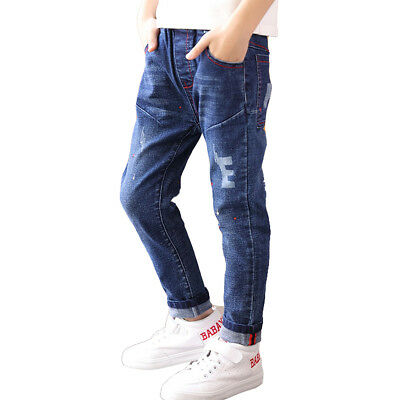 Kids Boys' Denim Trousers Fashion Slim Fit Elastic Waist Jeans Age 4-13 Years